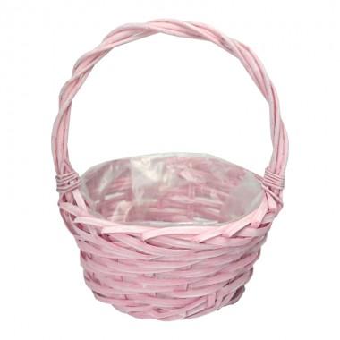 Корзина плетеная (ива) круглая, 20*10*25см, цвет розовый