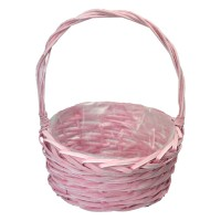 Корзина плетеная (ива) круглая, 24*12*30см, цвет розовый