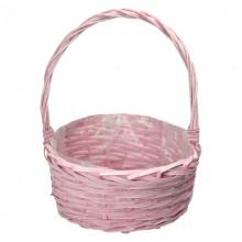 Корзина плетеная (ива) круглая, 30*13*35см, цвет розовый