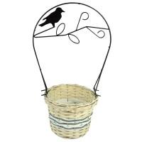 Корзина плетеная (ива) с металлической ручкой, 22*22*16*50см, цвет натуральный