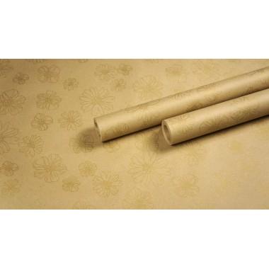 """Крафт бумага, рис. """"Анемоны"""" (бронза) 0,7м*10м."""