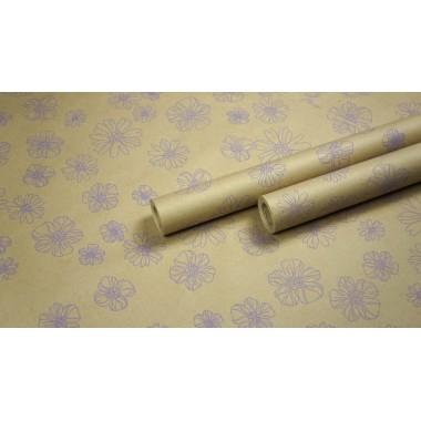 "Крафт бумага, рис. ""Анемоны"" (сирень) 0,7м*10м."