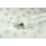 """Крафт бумага белая, рис. """"Анемоны"""" (бронза) 0,7м*10м"""
