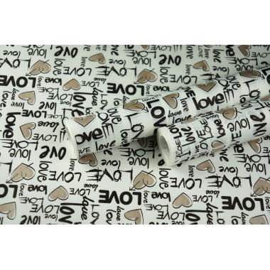 """Крафт бумага белая, рис. """"Love"""" (черный+бронза) 0,7м*10м"""