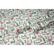 "Крафт бумага белая, рис. ""Love"" (черный+красный) 0,7м*10м"
