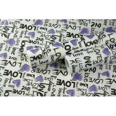 """Крафт бумага белая, рис. """"Love"""" (черный+сирень) 0,7м*10м"""