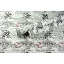 "Крафт бумага белая, рис. ""Винтаж"" (черный+красный) 0,7м*10м"