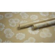 """Крафт бумага, рис. """"Гербера"""" (белый+бронза) 0,7м*10м."""