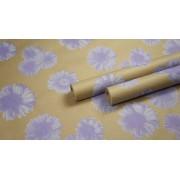 "Крафт бумага, рис. ""Гербера"" (белый+сирень) 0,7м*10м"