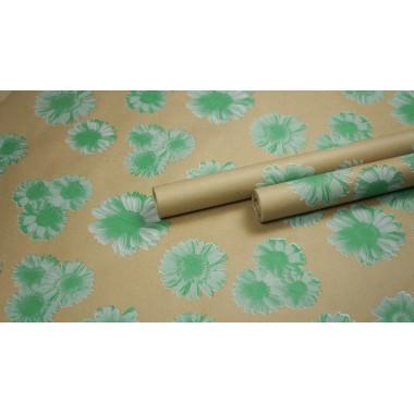 """Крафт бумага, рис. """"Гербера"""" (белый+зеленый) 0,7м*10м"""