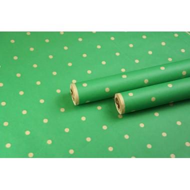 """Крафт бумага, рис. """"Горох на фоне"""" (зеленый) 0,7м*9м"""