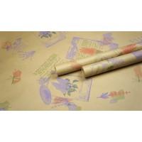 """Крафт бумага, рис. """"Лаванда"""" (сирень+красный+зеленый) 0,7см*10м"""