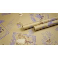 "Крафт бумага, рис. ""Лаванда"" (сирень+бежевый+коричневый) 0,7м*10м"
