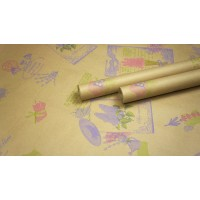 "Крафт бумага, рис. ""Лаванда"" (сирень+малина+салат) 0,7м*10м"