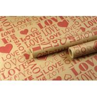 """Крафт бумага, рис. """"Love ART"""" (красный) 0,7м*10м"""