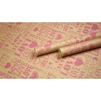 "Крафт бумага, рис. ""Love ART"" (малина) 0,7м*10м."