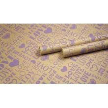 "Крафт бумага, рис. ""Love ART"" (сирень) 0,7м*10м."