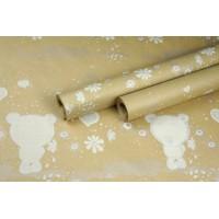 """Крафт бумага, рис. """"Мишутка"""" (белый+серебро) 0,7м*10м"""