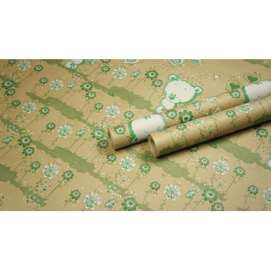 "Крафт бумага, рис. ""Мишутка"" (белый+зеленый) 0,7м*10м"