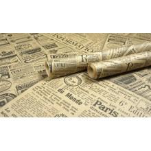 """Крафт бумага, рис """"Газета"""", рулон листов 76,2см*162см (6шт), общий метраж 9,72м 50г/м2"""