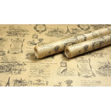 """Крафт бумага, рис """"Париж"""", 50г/м2, 0,762*10м"""