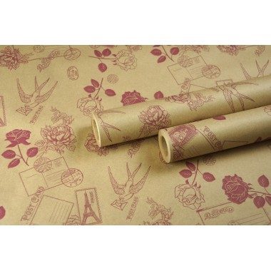 "Крафт бумага, рис. ""Розы-письма"" (бордо) 0,7м*10м"