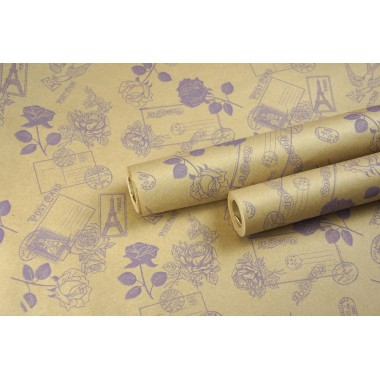 """Крафт бумага, рис. """"Розы-письма"""" (сирень) 0,7м*10м"""