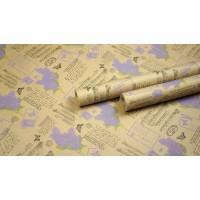 """Крафт бумага, рис. """"Сирень"""" (черный+салат+сирень) 0,7м*10м"""