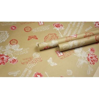 """Крафт бумага, рис. """"Старый Париж"""" (белый+красный) 0,7м*10м"""
