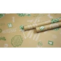 """Крафт бумага, рис. """"Старый Париж"""" (белый+зеленый) 0,7м*10м"""