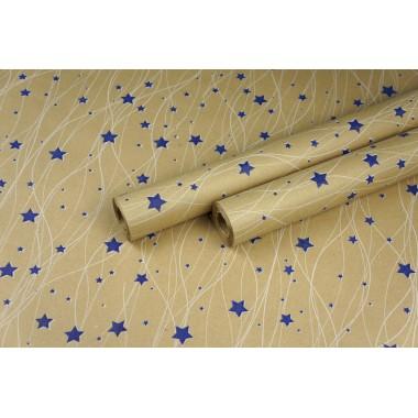 "Крафт бумага, рис. ""Звездопад"" (белый+синий) 0,7м*10м"