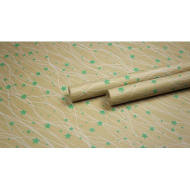 """Крафт бумага, рис. """"Звездопад"""" (белый+зеленый) 0,7м*10м"""