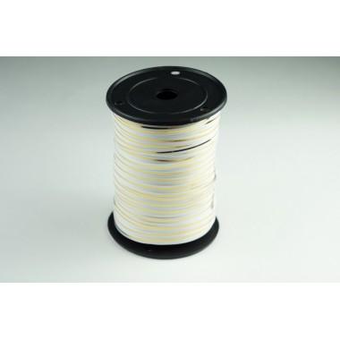 Лента полипропиленовая, 0,5см*229м (цвет белый с золотым)