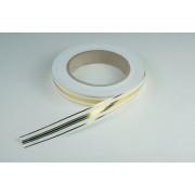 Лента  полипропиленовая с золотой полосой, 2см*45м (цвет белый)