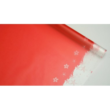 """Пленка матовая корейская """"цветы"""" 58см*10м (цвет красный)"""
