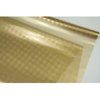 Пленка прозрачная в клеточку, ( цвет карамельный) 58см*10м, 45 мкм