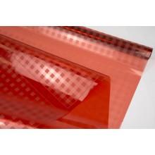 Пленка прозрачная в клеточку, ( цвет красный) 58см*10м, 45 мкм
