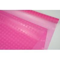 Пленка прозрачная в клеточку, ( цвет розовый) 58см*10м, 45 мкм