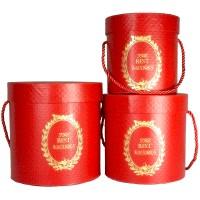 """Набор шляпных коробок """"Античные"""", красный (3шт), размер 13*12см, 15*15см, 17*17,5см"""