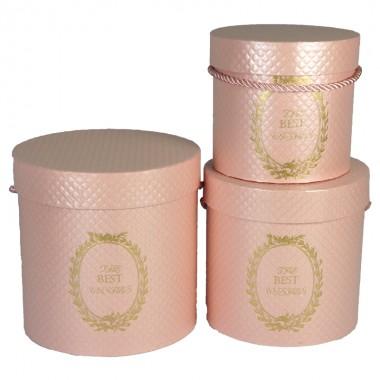 """Набор шляпных коробок """"Античные"""", персиковый (3шт), размер 13*12см, 15*15см, 17*17,5см"""