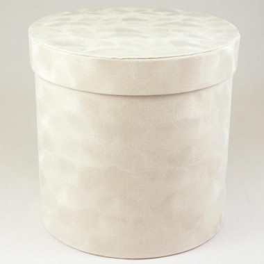 "Шляпная коробка ""Бархат"", цвет белый, размер 19,5*19см"