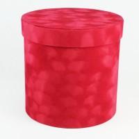 "Шляпная коробка ""Бархат"", цвет красный, размер 15,5*15см"