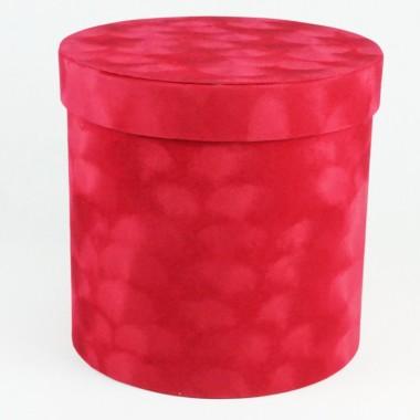 "Шляпная коробка ""Бархат"", цвет красный, размер 17,5*17см"