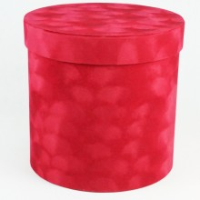 "Шляпная коробка ""Бархат"", цвет красный, размер 19,5*19см"