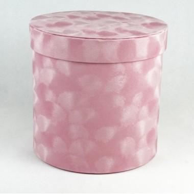 "Шляпная коробка ""Бархат"", цвет розовый, размер 15,5*15см"