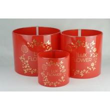 Цилиндры для цветов (набор 3 штуки (красный) размер 17см*14см,14см*14см,10см*9см)