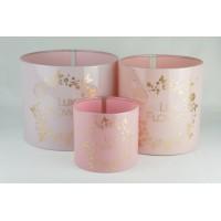 Цилиндры для цветов (набор 3 штуки (нежно-розовый), размер 17см*14см,14см*14см,10см*9см)