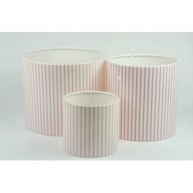 Цилиндры для цветов с рис.мелкая розовая полоска(набор 3 шт), размер 17см*14см,14см*14см,10см*9см)