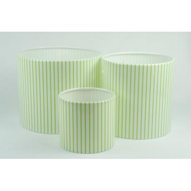Цилиндры для цветов с рис.мелкая салатовая полоска(набор 3 шт), размер 17см*14см,14см*14см,10см*9см)