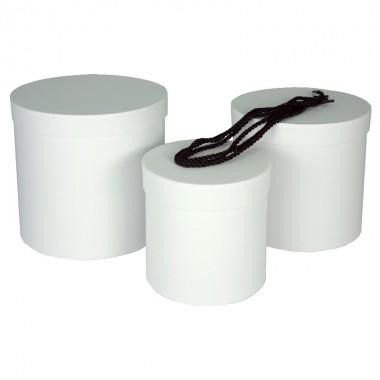 """Набор шляпных коробок """"Цилиндры стандарт"""", цвет белый (3шт), размер 14*14,5см, 17*17см, 19*19см"""